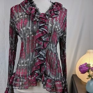 Tribal Ruffle Crinkle Blouse Size 6